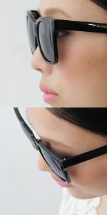 従来品はサングラスと顔の間に隙間がある